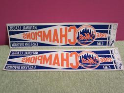 2 New York METS BUMPER STICKER 1986 NL EAST CHAMPS decal Sea