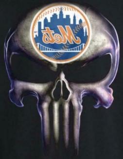 NY New York Mets Punisher Skull 5x3.8 Vinyl Stickers Car Wi