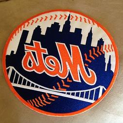 "⚾ 9"" NEW YORK METS Round MLB Baseball Team Logo Iron-on Je"