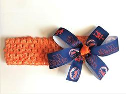 Baby Girls NY Mets Hair Bow Newborn New York Mets MLB Baseba