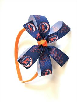 Girls NY Mets Headband New York Mets MLB Baseball Hair Bow o