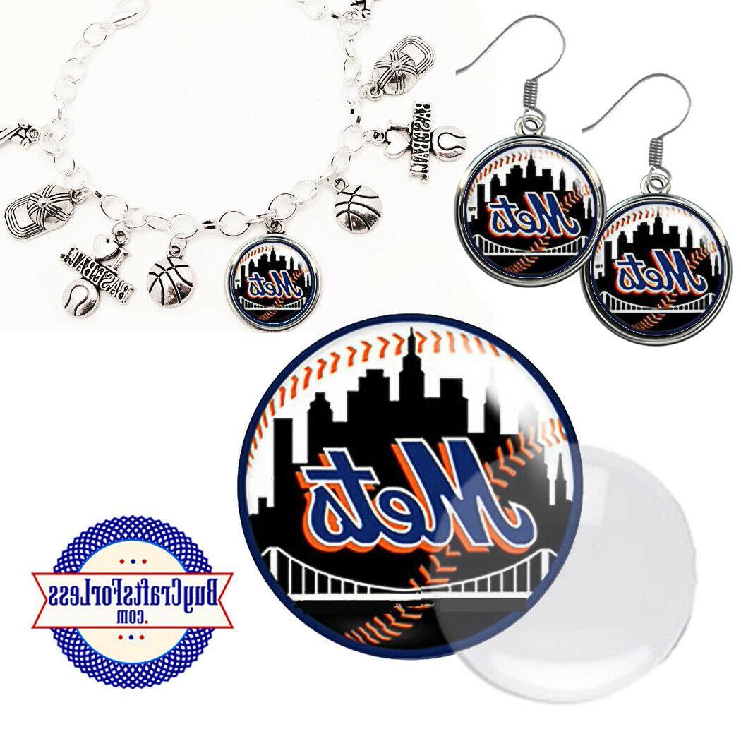 free design new york mets earrings pendant