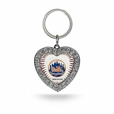 new york mets keychain rhinestone heart women