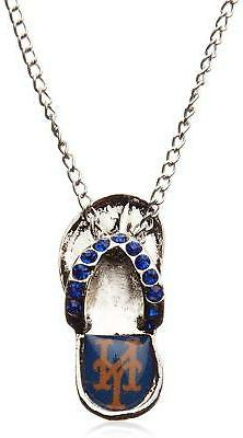 NEW YORK METS AMINCO MLB WOMEN'S CRYSTAL FLIP FLOP NECKLACE