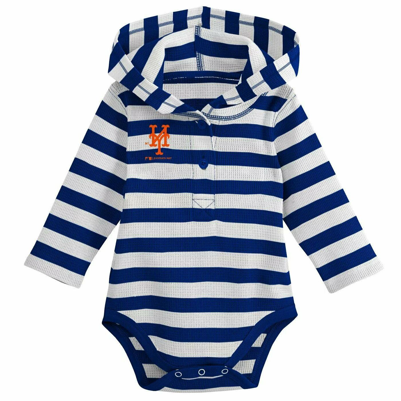 MLB New York Mets Striped Long Sleeve Baby / Toddler Hooded