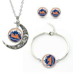 M77 New York Mets team logo set -necklace, bracelet, earring