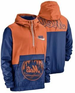 Nike Men's New York Mets 1/2 Zip Anorak Hooded Jacket Pull