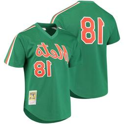 MITCHELL & NESS Green New York Mets #18 Strawberry BATTING P
