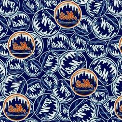 "MLB Baseball New York Mets New Logo Blue 18x29"" Cotton Fabri"