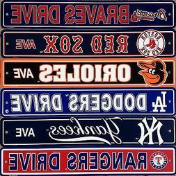 "MLB Baseball Street Sign Ave Drive 4' x 24"" - Pick Team"
