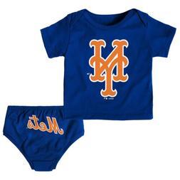 Outerstuff MLB Infants New York Mets Tee & Diaper Mini Unifo