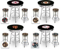MLB Black Pub Bar Table Set w/Backless Swivel Seat Stools an