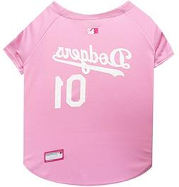 Pets First MLB Los Angeles Dodgers Dog Jersey, Small, Pink