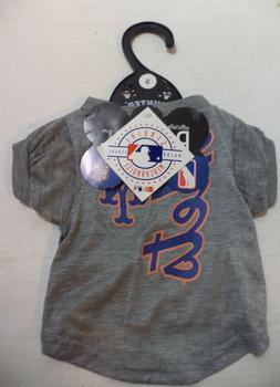 MLB New York Met's Ash Logo Pet T-shirt MLB Gray Dog Tee Shi