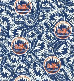 "MLB New York Mets 100% Cotton Fabric 1/4 Yard 9""x 60"" DI"