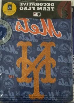 MLB New York Mets Baseball 12.5 x 18 Suede Glitter Decorativ