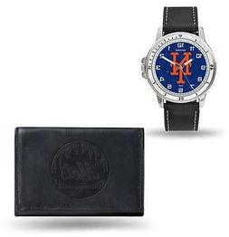 MLB New York Mets Black Faux Leather Watch & Wallet Set