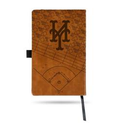 MLB New York Mets Laser Engraved Leather Notebook - Brown