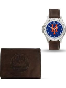 MLB New York Mets Leather Watch/Wallet Set by Rico Industrie