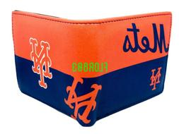 MLB New York Mets Men's Printed Logo Leather Bi-Fold Wallet