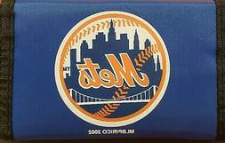 MLB New York Mets Nylon Tri-Fold Wallet, NEW