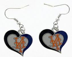 MLB New York Mets Team Logo Swirl Heart Dangle Earring Charm