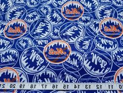 MLB NY New York Mets Logo Baseball  Fabric Cotton 1/2 Yard