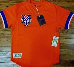 NEW MITCHELL & NESS New York Mets Orange V-neck MESH JERSEY