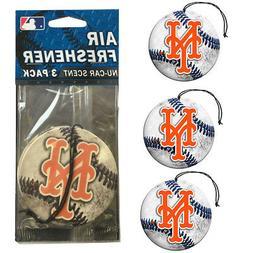 New MLB New York Mets Premium Hanging Air Freshener 3 Pack