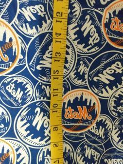 "New York Mets 1/4 yard, 9"" x 58"" MLB Cotton Fabric New"