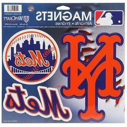 "New York Mets WinCraft 11"" X 11"" 3pk Car Magnets"