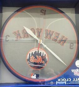 "New York Mets 12"" Logo Round Wall Clock - Runs On One AA Bat"