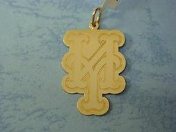 NEW YORK METS 14K YELLOW GOLD  NY LOGO PENDANT
