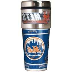 NEW YORK METS 16 OZ STAINLESS STEEL COFFEE TRAVEL MUG WITH M