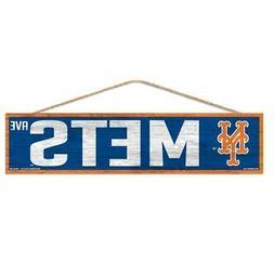 "New York Mets 4""x17"" Wood Sign Avenue Design  MLB Street Ban"