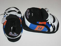 New York Mets Adult Size Fuzzy Non-Skid Plush Sneaker Slippe