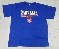 "New York Mets""Amazins Mets Baseball"" Men's Blue Majestic T-s"