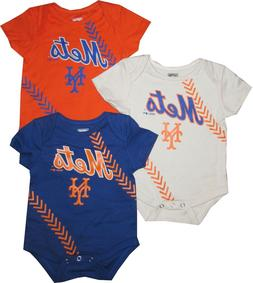 New York Mets Baby 3pc Creeper Set Stitches Bodysuit Clothes