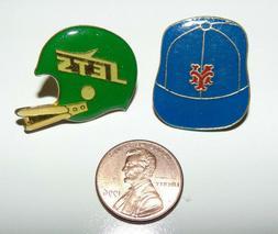 New York Mets Baseball Cap & NY Jets Helmet Lapel Pin Vintag