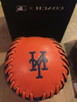 New York Mets Baseball Coach Leather Paperweight MLB Navy/Or