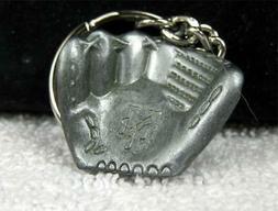 NEW YORK METS Baseball Mitt / Glove Pewter Keychain