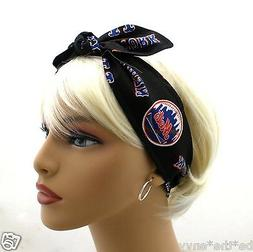 New York METS Baseball MLB Hair Tie Wrap Headband Scarf Pinu