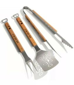 New York Mets BBQ Grill Tools Tongs Spatula Fork 3 Piece Dad