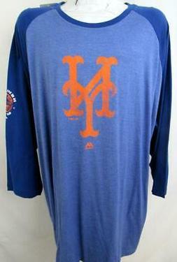 New York Mets Big Mens 3X - 6X 3XT - 4XT 3/4 Sleeve Screened