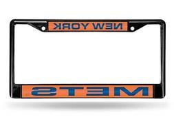 New York Mets BLACK LASER FRAME Chrome Metal License Plate C