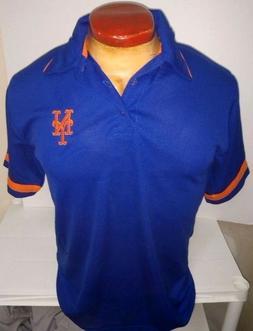 NEW YORK METS BLUE MAJESTIC DRI FIT  GOLF POLO SHIRT NEW MEN
