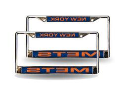 New York Mets Blue MLB  Chrome Metal Laser Cut License Plate