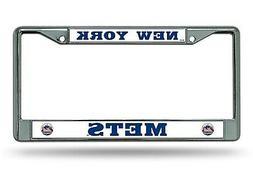 New York Mets BOLD Design Chrome Frame Metal License Plate T