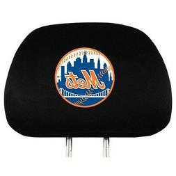 NEW YORK METS CAR AUTO 2 TEAM HEAD REST COVERS MLB BASEBALL