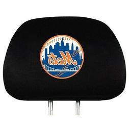 NEW YORK METS CAR AUTO 2 TEAM HEAD REST COVERS MLB BASEBALL